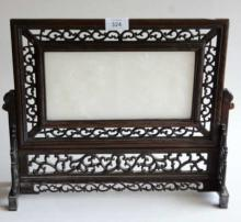 Chinese carved white stone panel with