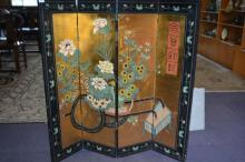 Oriental 4-fold lacquered screen,