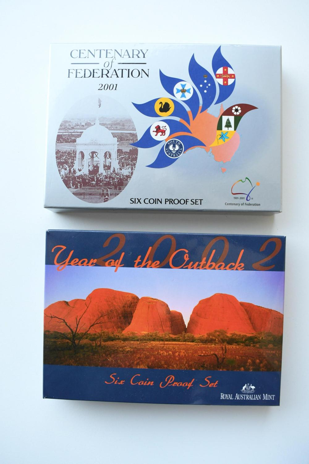 2 Australian Year Proof coin sets, 2001 & 2002