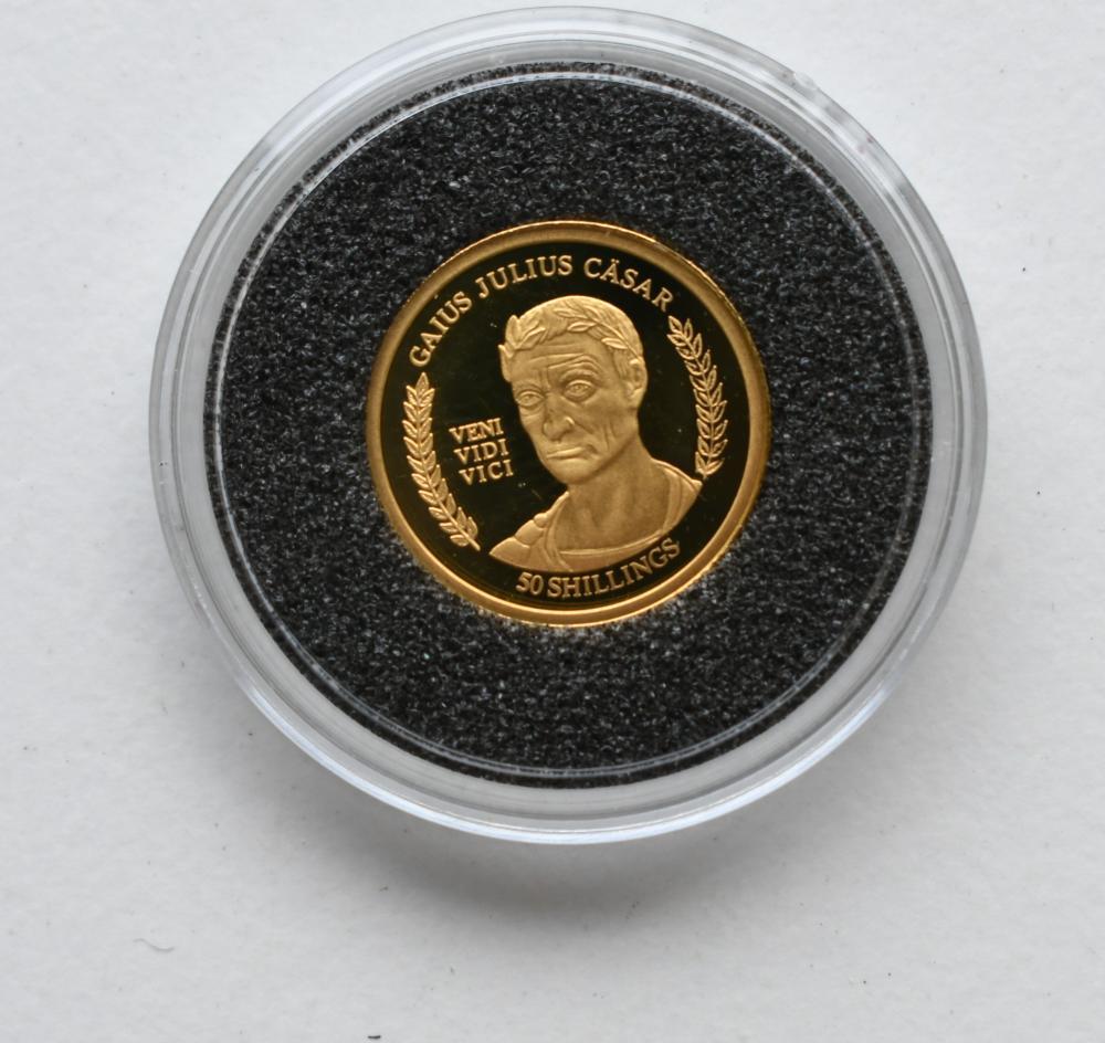 2004 Somalia 50 Shillings Gold coin, diameter 1.39 cm. (0.55 in.)