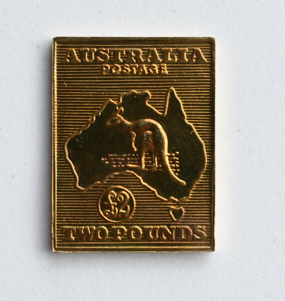 Matthey Garrett 18ct Gold 2 Pound Kangaroo 1913 stamp replica 2 x 2.60 cm. (0.79 x 1.02 in.)