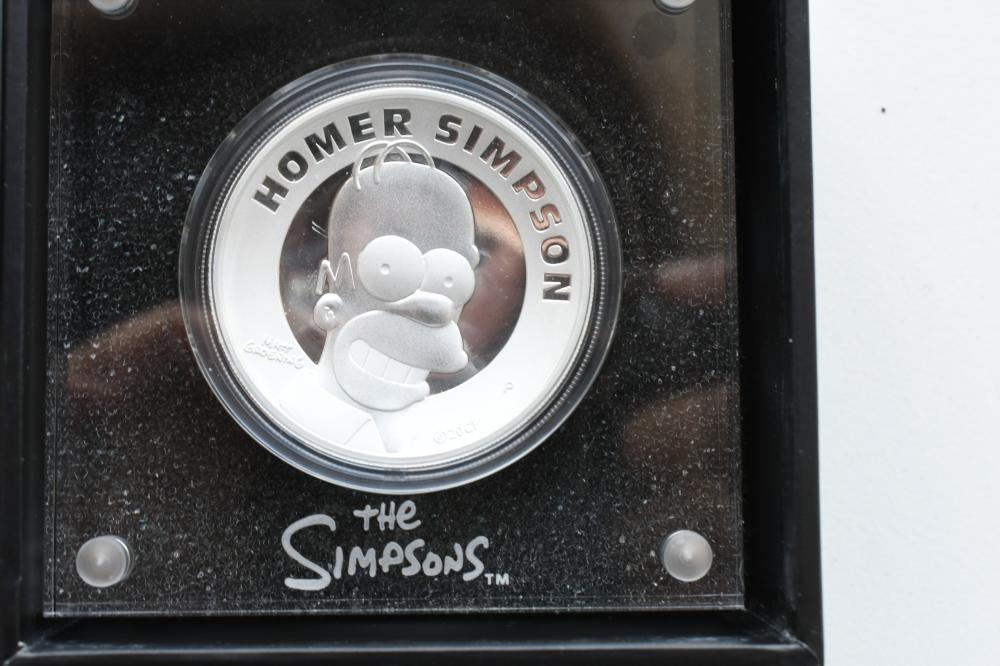 2021 2oz silver Homer Simpson high relief Proof coin, coin diameter 4.09 cm. (1.61 in.)