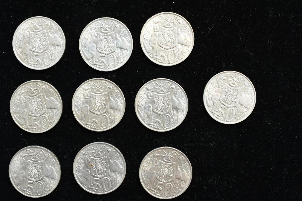 10 x 1966 Australian circular 50 cent coins