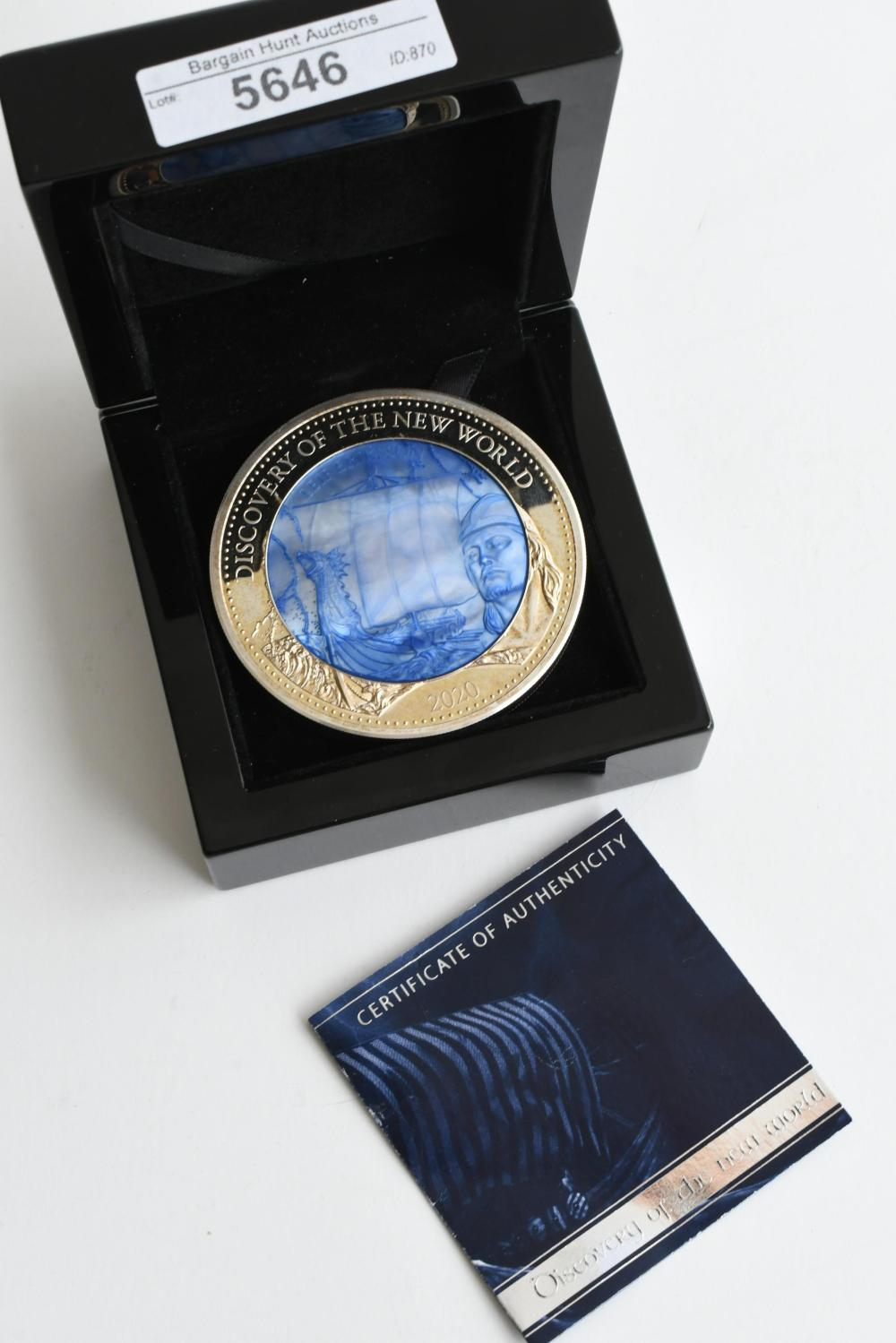 2020 5oz silver Proof $25, 'Discovery of the New World', diameter 6.50 cm. (2.56 in.)