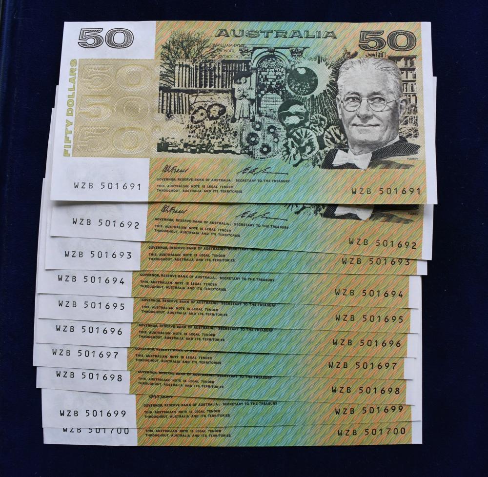 10 x Consecutive Australian $50 paper bank notes