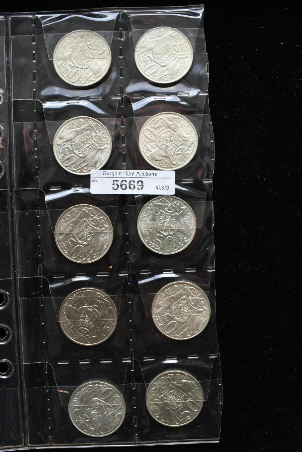 10 Australian 1966 round 50 cent coins