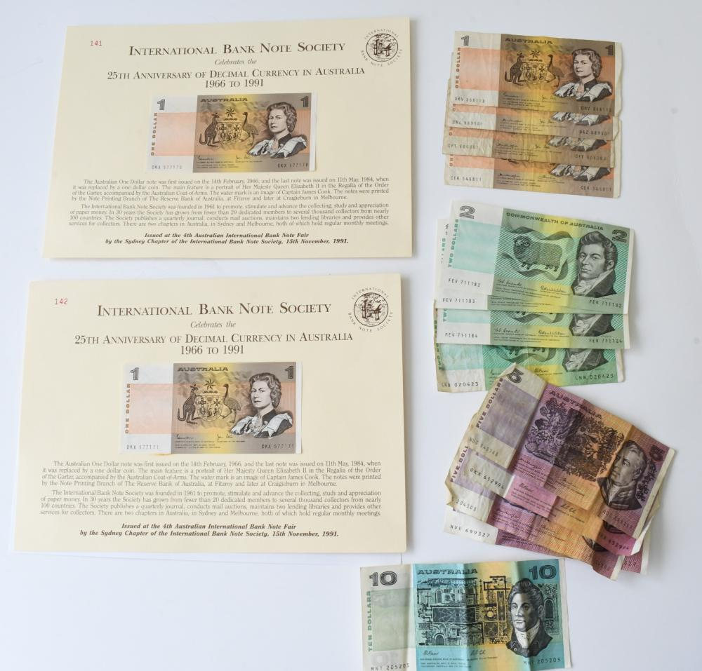 Collection Assorted Australian paper bank notes