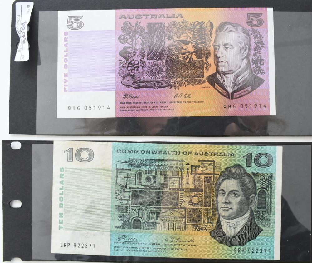 2 Australian paper Bank Notes, $10 & $5