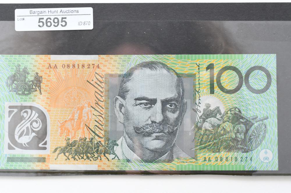 2008 $100 Australian First Prefix AA08