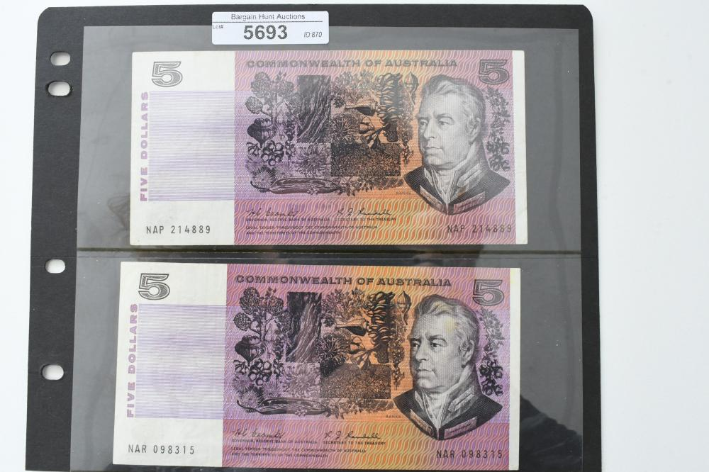2 Australian paper $5 Bank Notes, Coombs / Randall