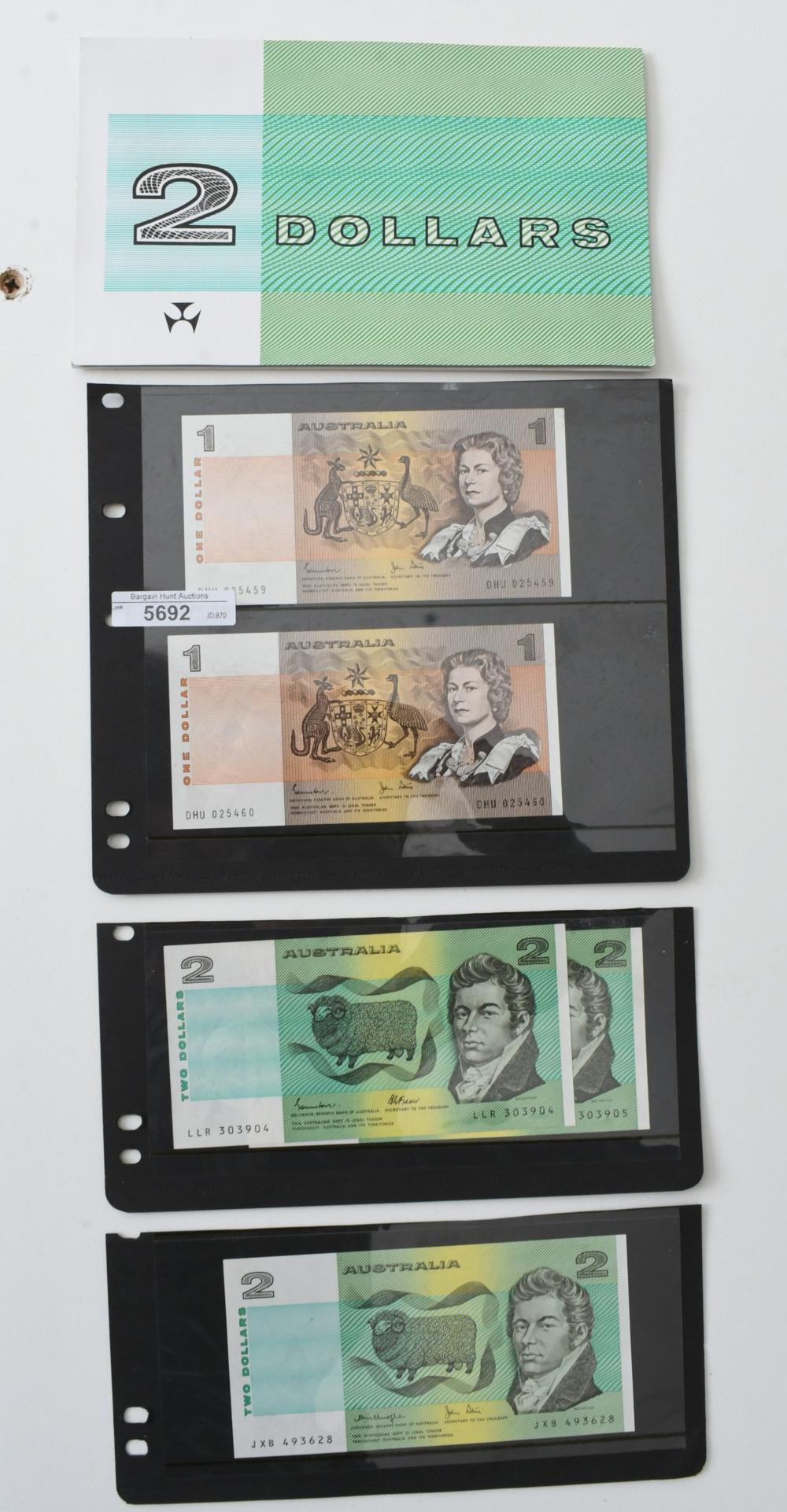 6 various Australian paper Bank Notes