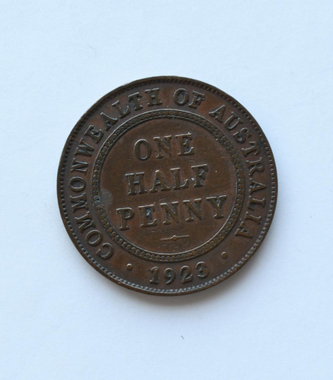 Rare 1923 Australian half penny coin