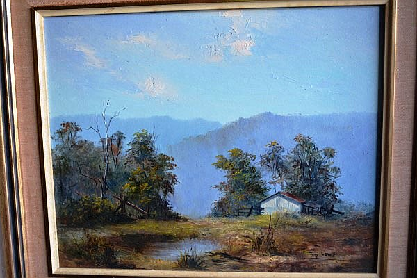 Tony Lewis, 'The Mountain Hut;, oil on board,