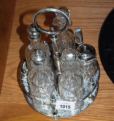 Antique 5 bottle cruet set, all original &