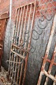An old wrought iron cell door, hand forged with