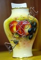 Royal Worcester vase, hand painted fruit design,