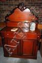 Antique colonial cedar chiffonier, shield back,