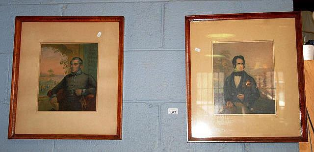 2 x antique lithographs by Baxter, portraits of