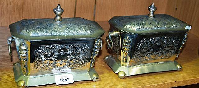 2 x white metal sarcophagus form caskets with