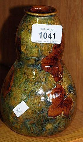 Royal Doulton vase, 'Natural foliage ware', double