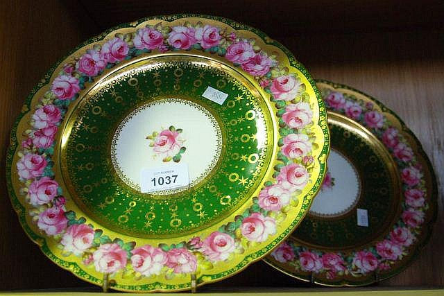 Pair of early Royal Crown Derby display plates