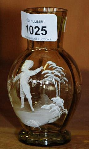 Antique Mary Gregory glass vase with hand painted