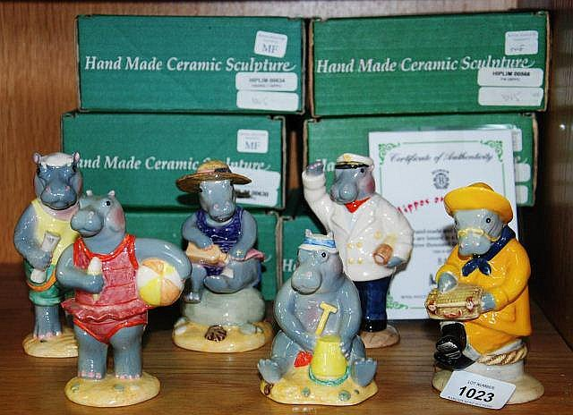 Set of 6 Beswick figurines, 'Hippos on holiday',