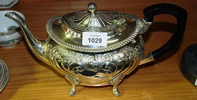 Good antique silver plate teapot with embossed