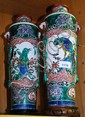 2 large Oriental hand painted ceramic vases with