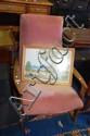 Retro Parker teak framed rocking chair, pink
