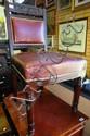 Antique mahogany framed hall chair, burgundy
