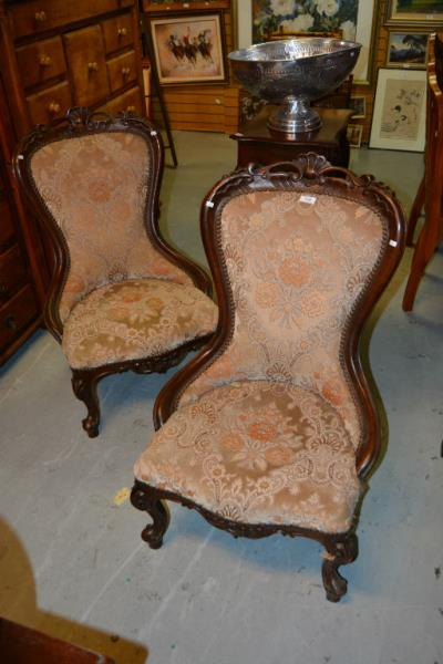 Pair Of Edwardian Parlour Chairs In Need Of