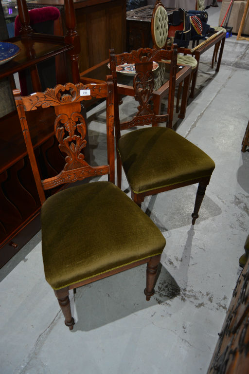 Pair Of Carved Walnut Side Chairs Splat Back