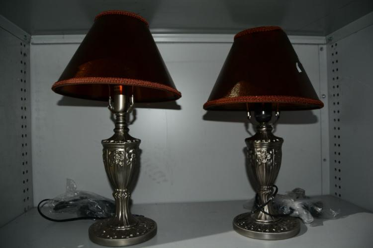 Pair Of Silver French Style Bedside Table Lamps