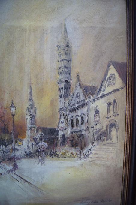 Aubrey Eden Stapleton, Church study, oil on board, signed, 60 x 40cm