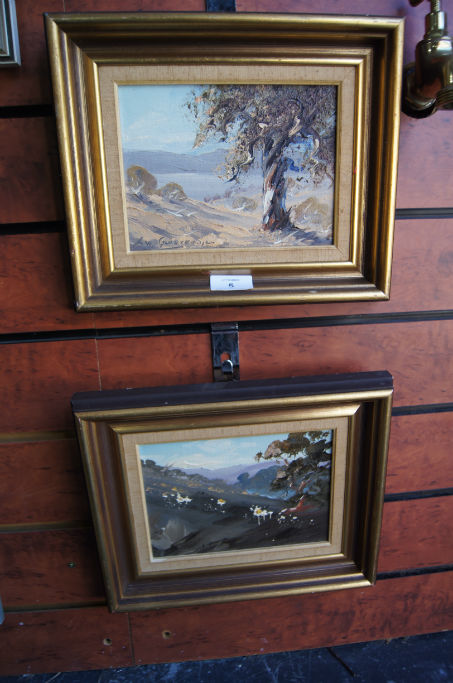Alan Grosvenor, 2 oil paintings on canvas board, 'Snow Daisies and Billie Buttons, (Mt Stillwell, NSW)' and 'Noon by the Lake, (Jindabyne)', 1977, both signed, each measures 13.5 x 18.5cm