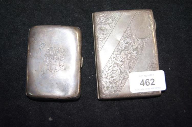 2 various sterling silver cigarette cases, one with engraved