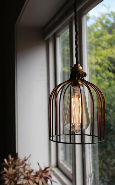 10 industrial style bronze coloured pendant lights wire cage