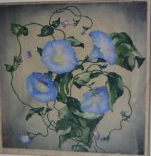 Artist unknown, 'Blue Trumpet Flowers',