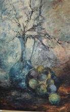 Susan Sheridan, still life jug and bowl of fruit,