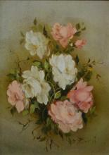 2 works, 1 by M. Bonati, still life of roses,
