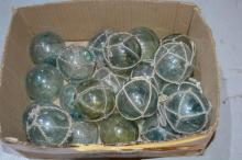 Approx 20 hand blown glass fishing floats