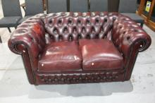 Vintage burgundy leather 2-seater Chesterfield,