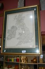 Vintage hand coloured printed map of the British