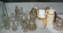 Qty of vintage bottles, incl. glass insulators,