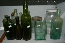 Qty of vintage glass bottles,
