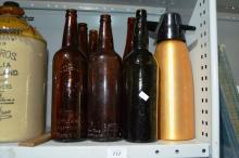 7 various vintage bottles and soda syphon