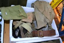 Box of military related clothing, belts, bags,