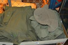 Box of Australian army issue jumpers, jackets, etc