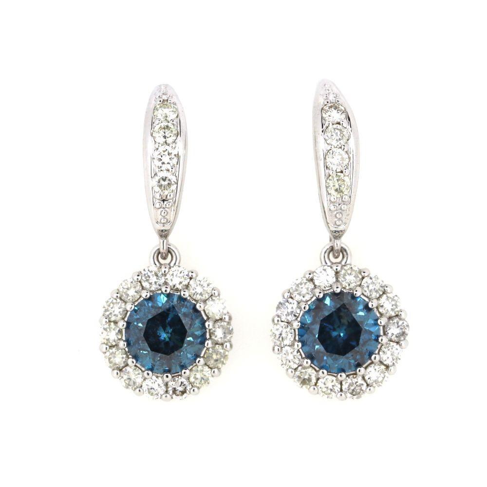 Antique Style Diamond Halo Drop Earrings